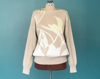 Boatneck Floral Leaf Sweater, Beige Sweater Slouchy Sweater Unique Sweater Pullover Sweater Casual Sweater Vintage Sweater Size Medium