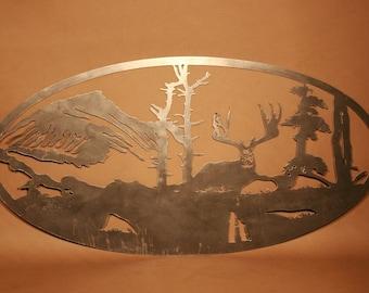 Deer Scene Plasma Cut Metal Wall Art Hanging Home Cabin Decor Hunting