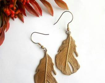 Brass Feather Earrings, Statement Earrings, Drop Earrings, Nature Inspired, Brass Jewelry, Boho style, Trible Jewelry