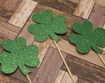 12 cupcake toppers; Shamrock; Green Glitter; St. Patrick's Day; Irish