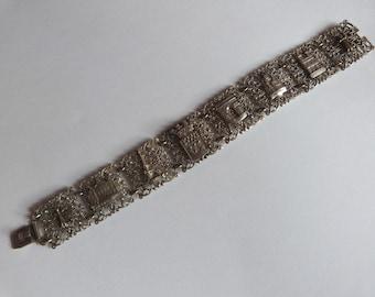 Antique French bracelet souvenir of Paris bracelet silverplated filigree bracelet w Eiffeltower Montmartre Opéra Arc de Triomphe Notre Dame