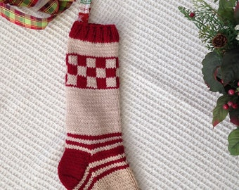 Cranberry and Cream Christmas Stocking