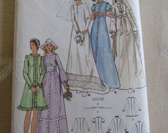 Butterick Wedding Dress Pattern #6181 Vintage 1970s Bridal Dress Sewing Pattern Bridesmaid Dress Prom Dress Party Dress Hippie Costume BOHO