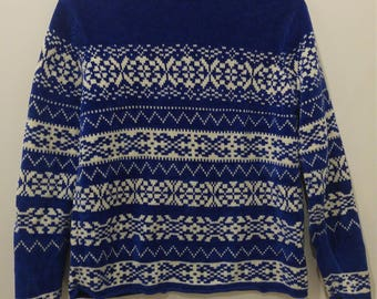 Blue Patterned Acrylic Knit Sweater