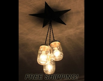 Mason jar chandelier etsy mason jar chandelier barn star country rustic primitive pendant light 3 jars aloadofball Choice Image