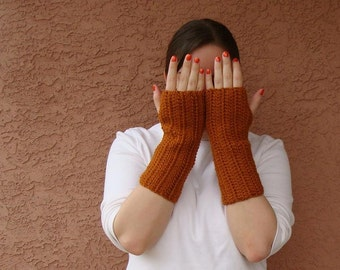 Rust Orange Fingerless Gloves for Men or Women - Crochet Fingerless Gloves, Arm Warmers, Wrist Warmers, Fingerless Mittens - READY TO SHIP