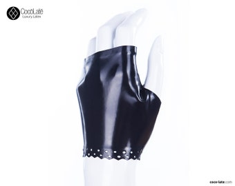 Latex Fingerless Wrist Gloves With Brocade Trim