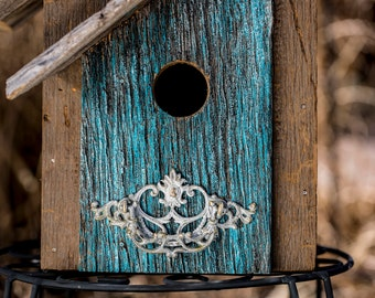 Bird House, Rustic Birdhouse, Painted Birdhouse, Mother's Day Gift, Garden Gift, Blue Birdhouse, Handmade Birdhouses