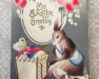Sweet Edwardian Era German Printed Easter Postcard with Bunny and Chick