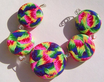Spring Fling Artisan Polymer Clay Bead Set with Focal and 4 Beads