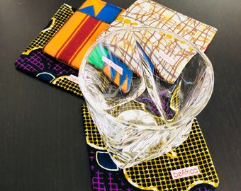 African coasters - Reversible - Set of four (4)- mixed patterns