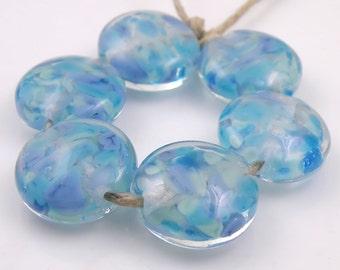 River Dance SRA Lampwork Handmade Artisan Glass Lentil Beads 18mm Made to Order Set of 6