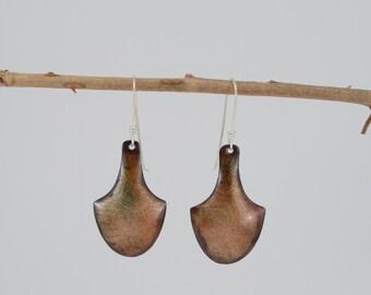 Transparent orange enamel earrings, sheild shaped earrings, formed copper, patterned copper, shiny, movement, subtle color, gift for her
