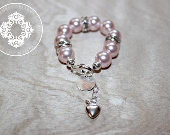 Infant Jewelry SWAROVSKI Pink Pearl Baby bracelet, Baptism, christening, baby shower gift, Monogram, Personalized, baby girl Jewellery .