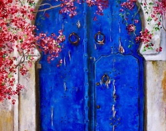 "Blue door art, bouganvilleas, original oil painting on linen canvas 11x14"","