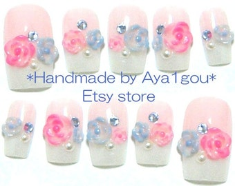 Wedding, bridal nails, party nails, kawaii nails, 3D nails, french nails, flowers, pastel fashion