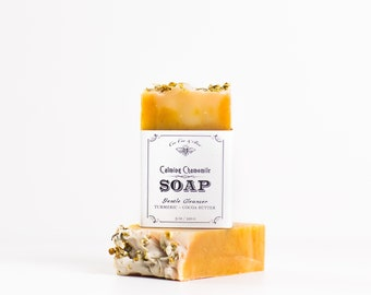 Chamomile Handmade Soap - Skin Softening Organic Cocoa Butter, turmeric, oatmeal, natural handcrafted calming soap bar for sensitive skin