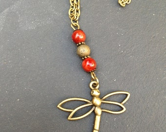 bronze Dragonfly necklace with jade beads