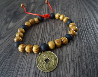 Shamballa men bracelet, natural wooden beads