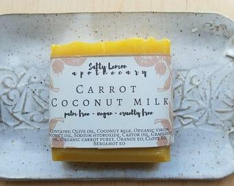 Carrot Soap- Coconut Milk Soap- Handmade Soap- Orange Soap- Cold Process Soap- Vegan Soap- Palm Oil Free- Artisan Soap- Natural Soap- Clove