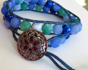 Double Wrap Bracelet. THE BAY. in blue and green matte cracked fire agate with gunmetal metal filigree button clasp