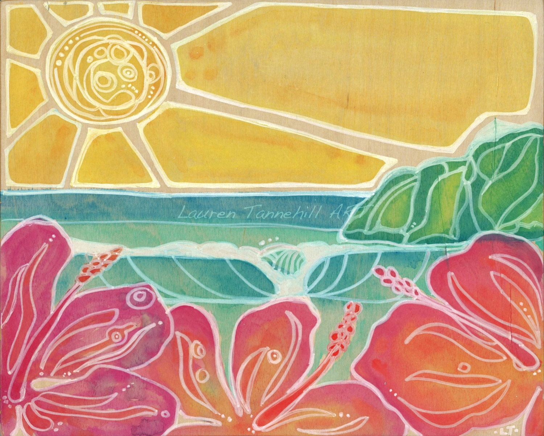 8x10 Giclee Print Hawaiian Style Nursery Decor Fuschia Hibiscus ...