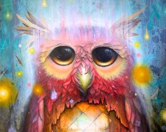 Surreal Owl Print - Owls - Bird Prints - Blue - Pink - Glow -  nature -  birds - leaves - pop surrealism. -