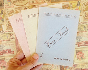 Vintage Portuguese pack of 3 marketplace pass book account cash ledger small blank notebooks