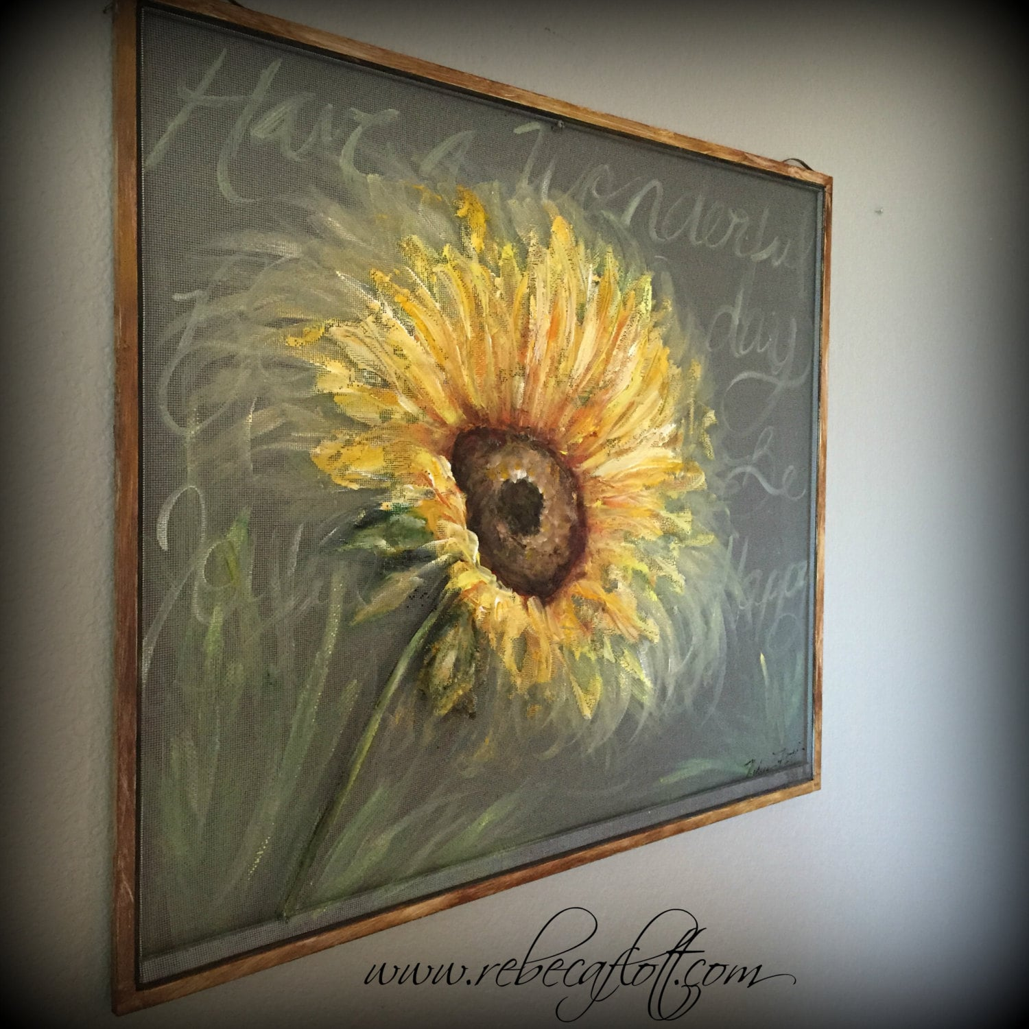 Old Recycle Window Screen SUNFLOWER Spring Art Outdoor