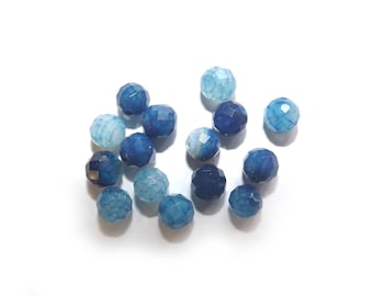 Set of 5 x blue agate faceted round beads