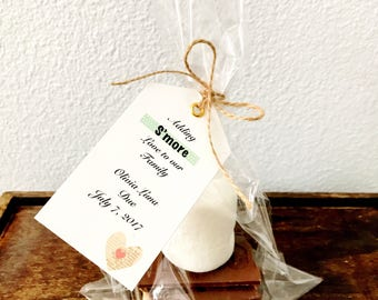 Adding S'more Love To our Family - Baby Shower DIY Party Favor Kits ** 30 Designs ** Goodie Bag Thank You Gift Custom Tags or Place Setting