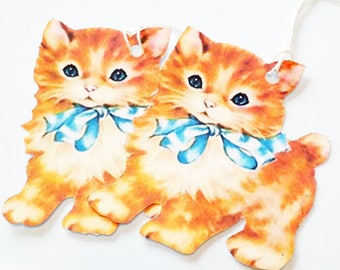 Orange Cat Tags - Set of 3 - Gift Tags - Retro Cat Tags -  Vintage Cat - Orange Kitty - Thank Yous - Cat Gift Tags - Animal Tags - Pet Tag