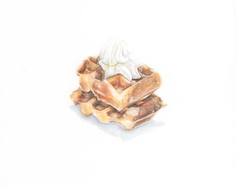 Day 27 #NOMvember Gouache Painting: Whip Cream on Belgian Waffle With Powdered Sugar Food Illustration