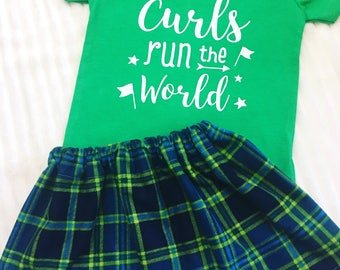 Girls Blue And Green Flannel Skirt Set, Girls Flannel Skirt Sets, Toddler Outfits For Girls, Girl's Skirt Set, Skirt And Shirt Sets For Kids