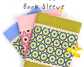 Textile Book Sleeve Cover PDF Pattern and Tutorial with Instructions, Sewing Tutorial, Textile Pattern, Digital file for Instant Download