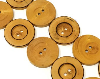 29mm Brown Wood Two Hole Button 6 Pieces