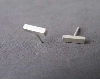 Sterling Silver Stud Earrings Bar Earring Geometric Studs Minimalist Earrings by SteamyLab