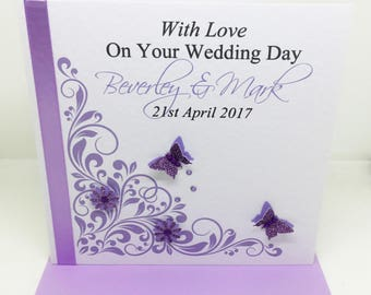 Beautiful Handmade Personalised Lilac and Purple Wedding Day Card
