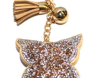 Engraved Personalised brown colour sparkles owl handbag charm keyring pouch LR55