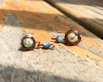 Copper Wire Wrap River Shell Studs in Blue and Green