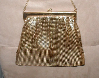 Vintage LARGE Gold Metal-Mesh Evening Purse signed, WHITING and DAVIS