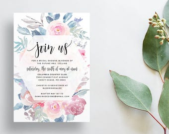 Watercolor Floral Shower Invites / Dusty Pink Blue Gray / Calligraphy / Semi-Custom Party Bridal Shower Invites / Printed Invitations