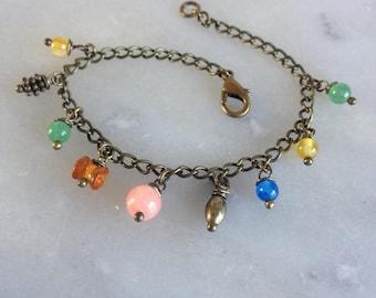 Spring, multicolor bracelet, gemstones and bronze