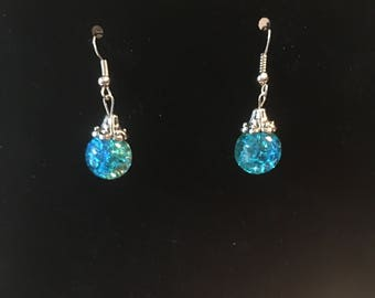 Cracked glass dangle earrings with silver accents