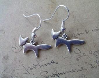 Small Fox earrings ~ silver ~