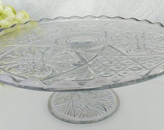 Vintage Rosette with Pinwheels Glass Cake Stand; Indiana Glass