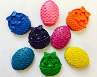 8 Spring Easter Eggs Baskets Crayons  Party Favors - Easter Basket Gifts