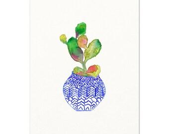 Blue & White Vase with Cactus Watercolor Painting. Cactus Art Print. Desert Boho Cactus Art. Southwest Boho Cactus Artwork. Botanical Art.