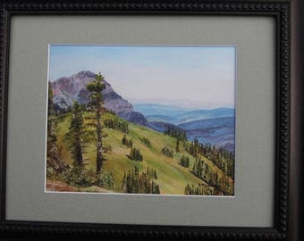Washington mountains oil painting art print; Pacific Northwest mountain painting; Hurricane Ridge National park artwork; Olympic Mountains