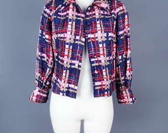 1960's Silk Plaid Vintage Jacket Blue and Pink - Long Sleeves, Classic Jean jacket syle, Size Medium